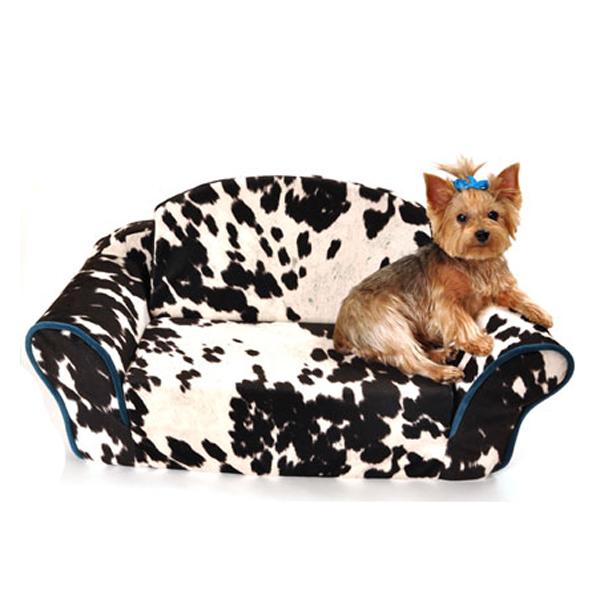 Cowprint Sleeper Sofa Dog Bed with Same Day Shipping BaxterBoo