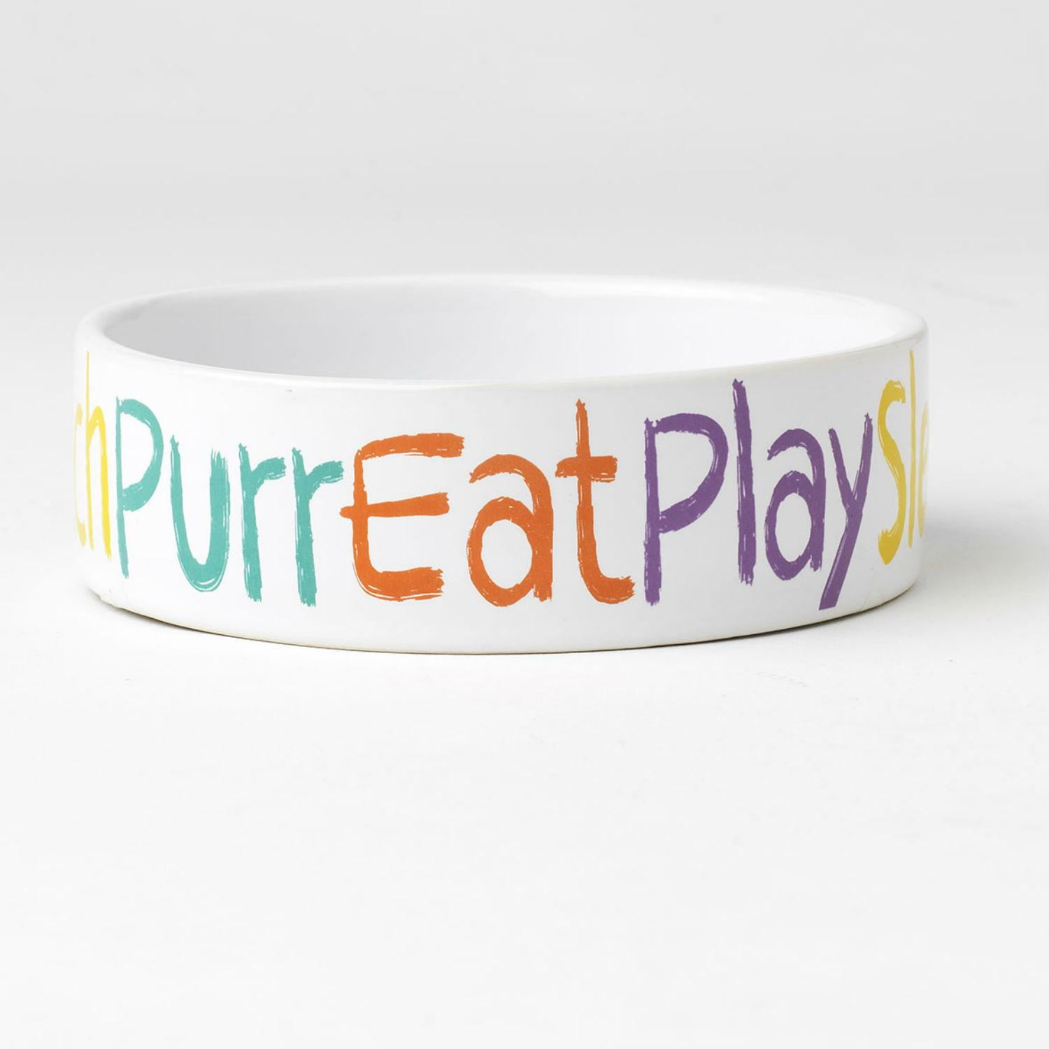 Crayon Kitty Cat Bowl - Purr, Eat, Play, Sleep