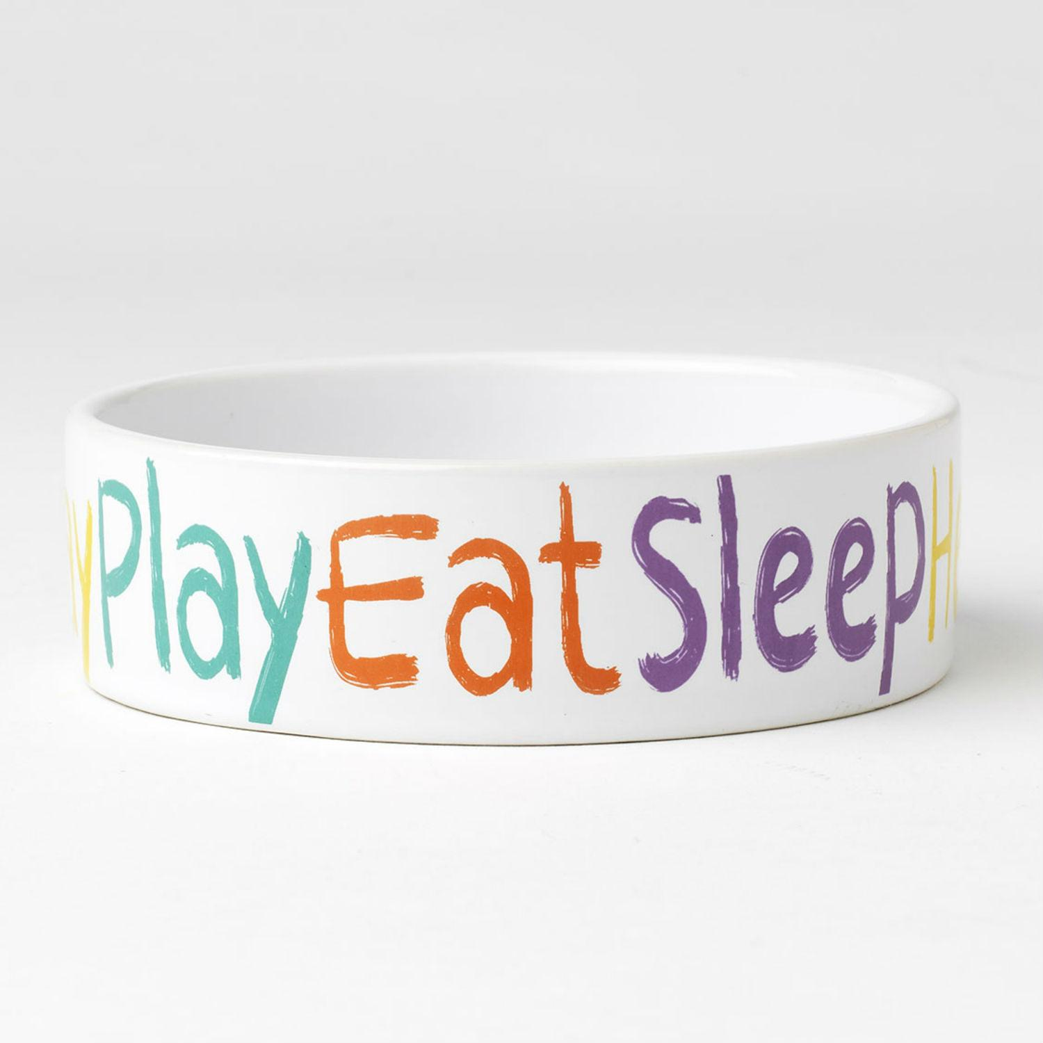 Crayon Pup Dog Bowl - Play, Eat, Sleep