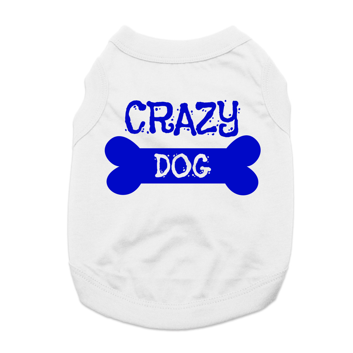 Crazy Dog Shirt / Crazy Dog Mom Human Shirt - White with Blue Print