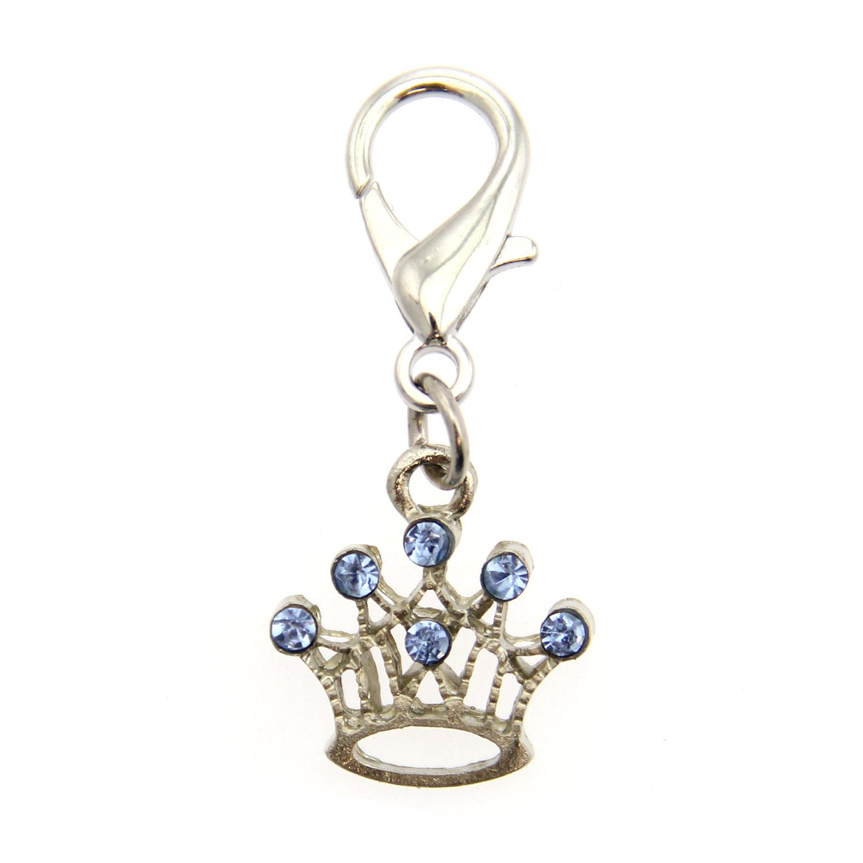 Crown D-Ring Pet Collar Charm by foufou Dog - Blue