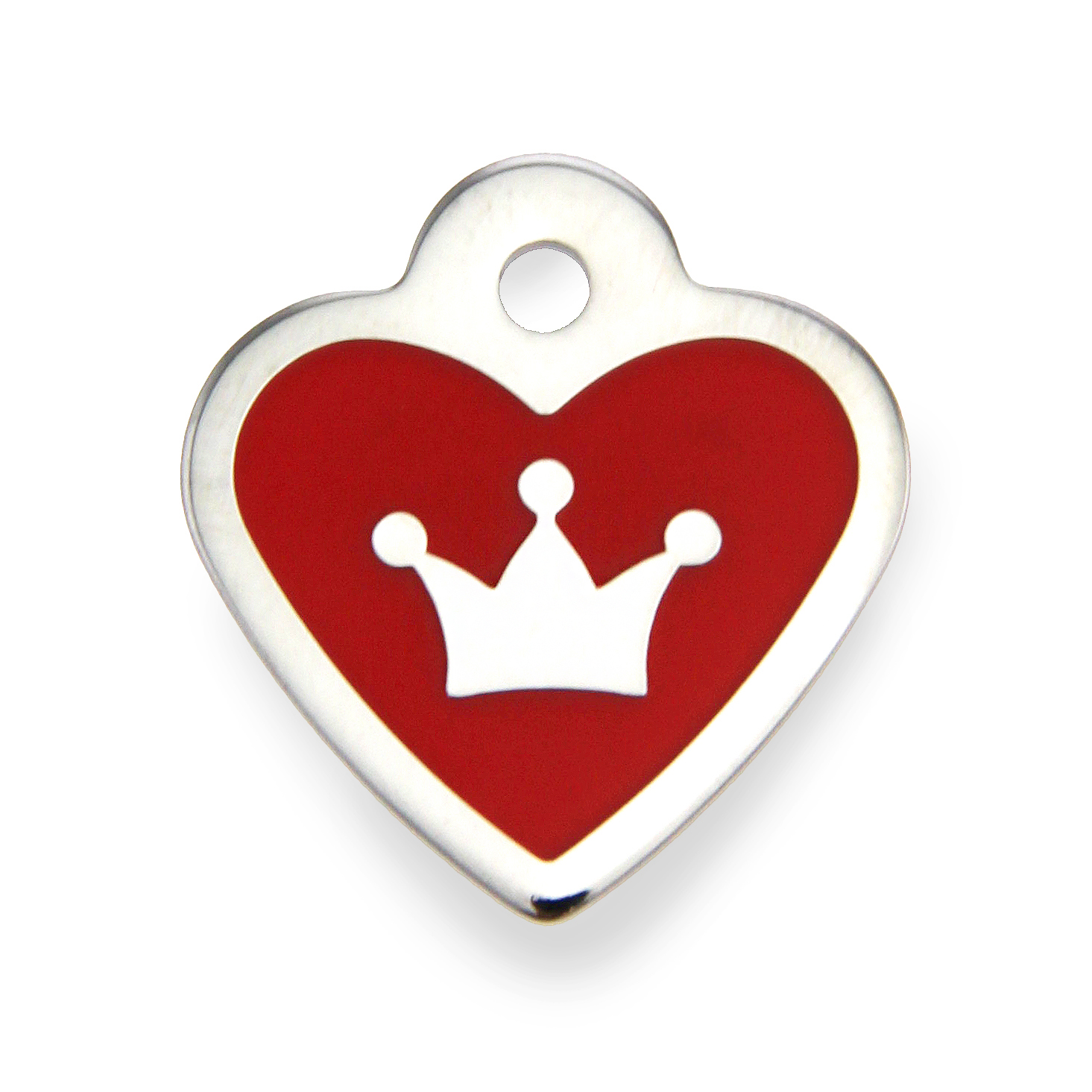 Crown Heart Small Engravable Pet I.D. Tag - Chrome and Red