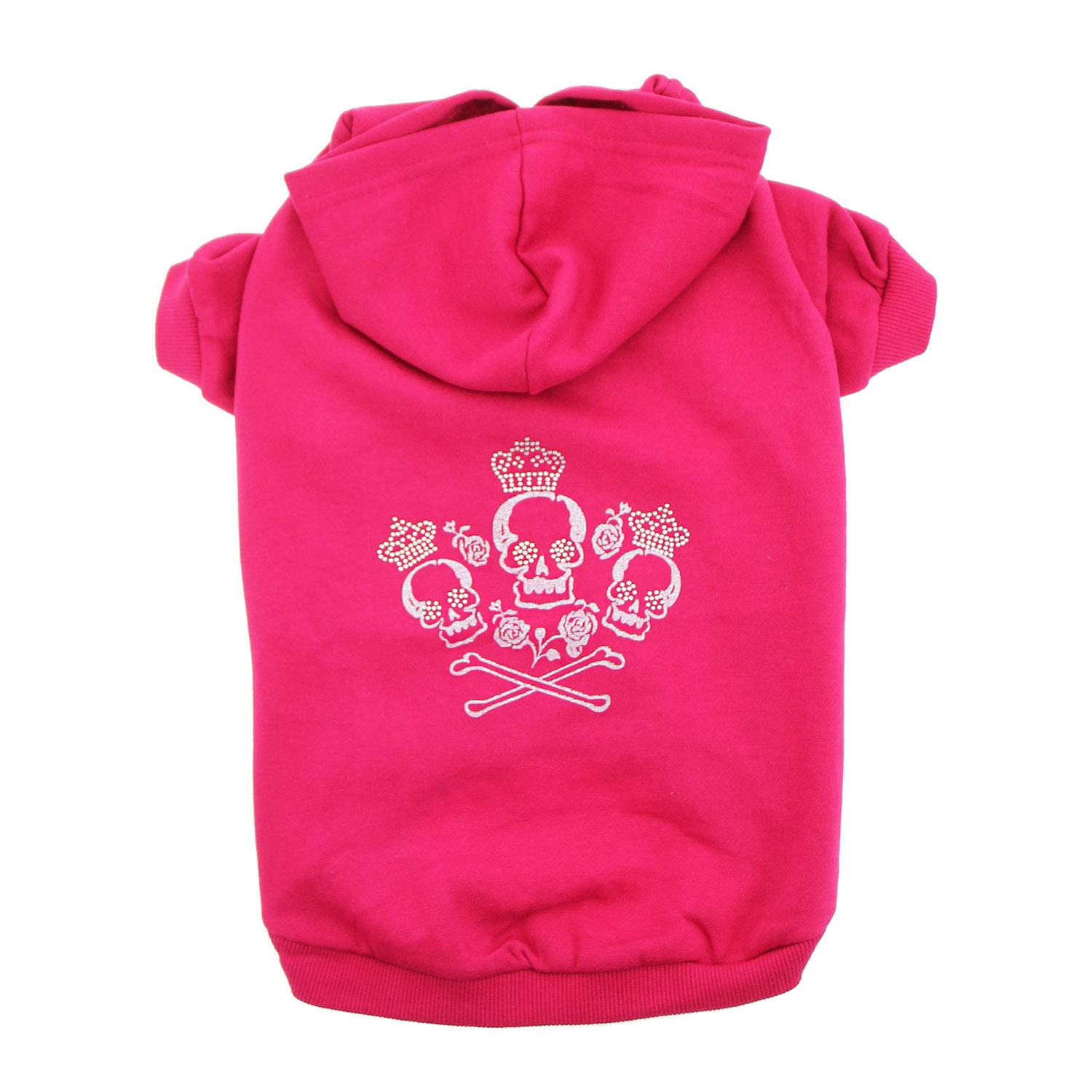 Crowned Crossbones Dog Hoodie - Raspberry Sorbet