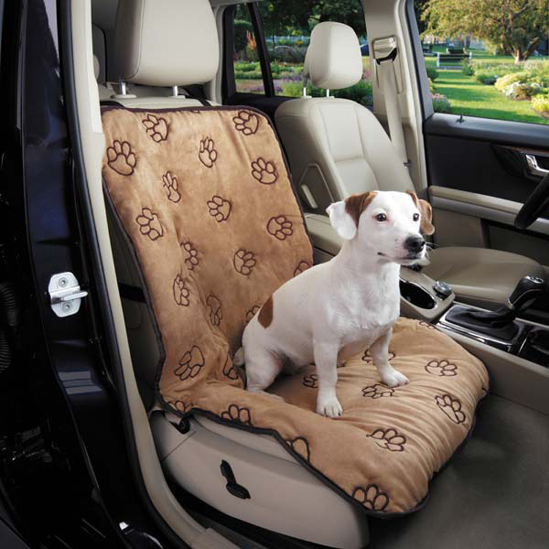 Cruising Companion Pawprint Single Car Seat Cover Camel With