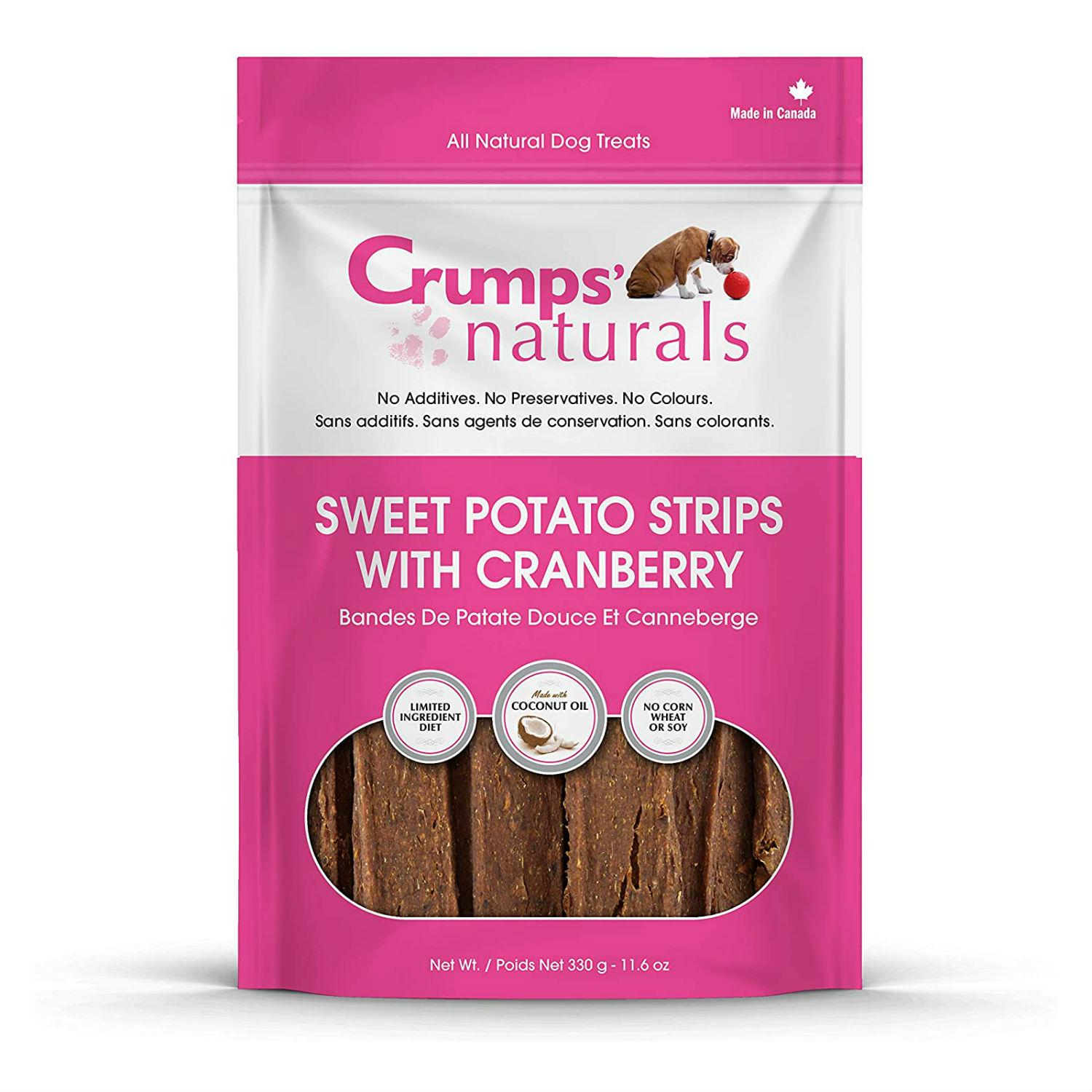 Crumps' Naturals Sweet Potato Strips with Cranberry Chews Dog Treats