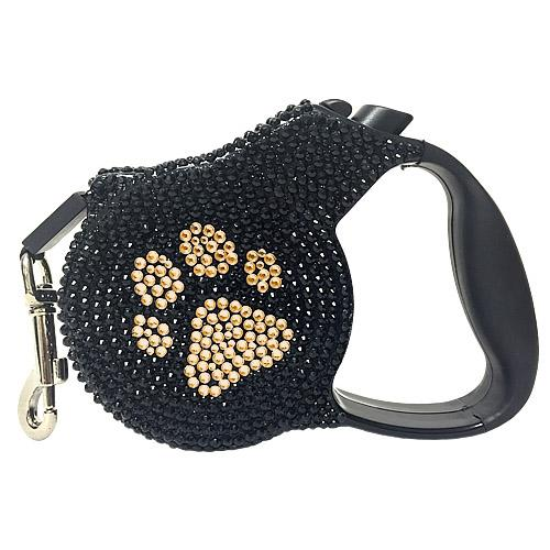 Crystal Retractable Dog Leash - Gold Paw