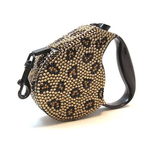 Crystal Retractable Dog Leash - Leopard