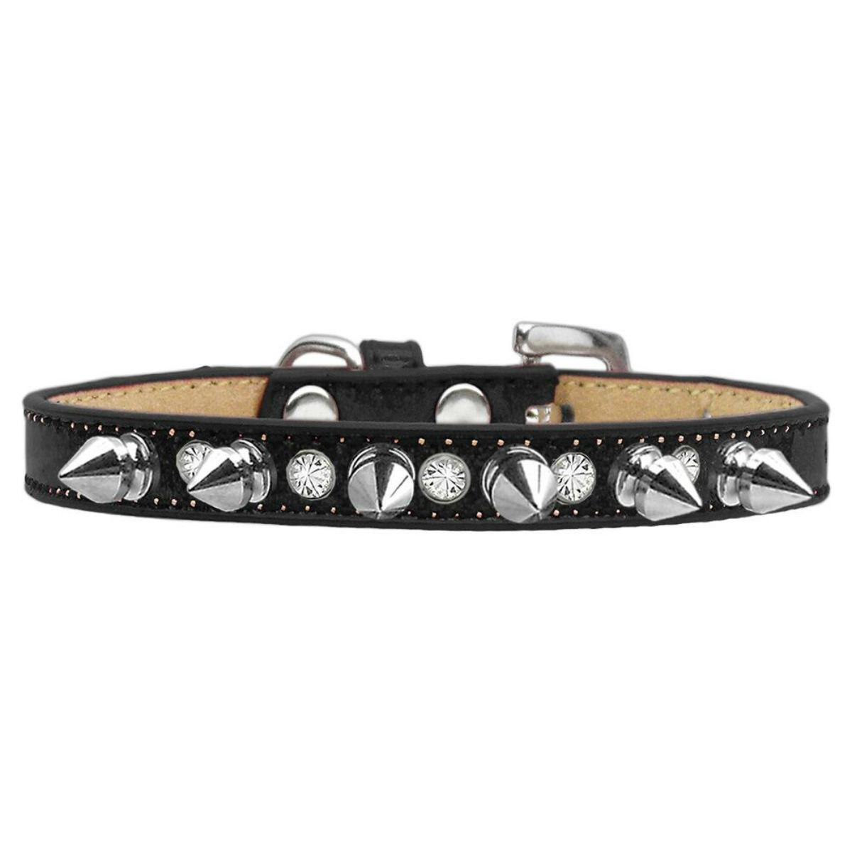 Crystals and Silver Spikes Dog Collar - Black Ice Cream