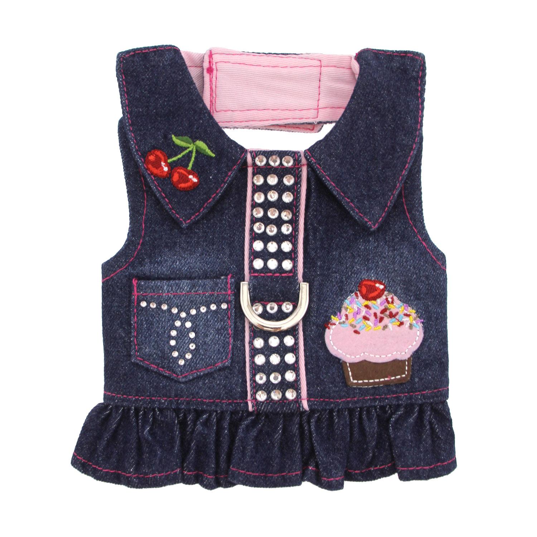 Cupcake Denim Dog Harness Dress