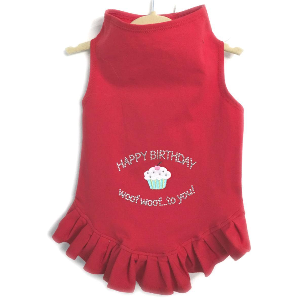 Daisy & Lucy Happy Birthday Dog Dress - Red
