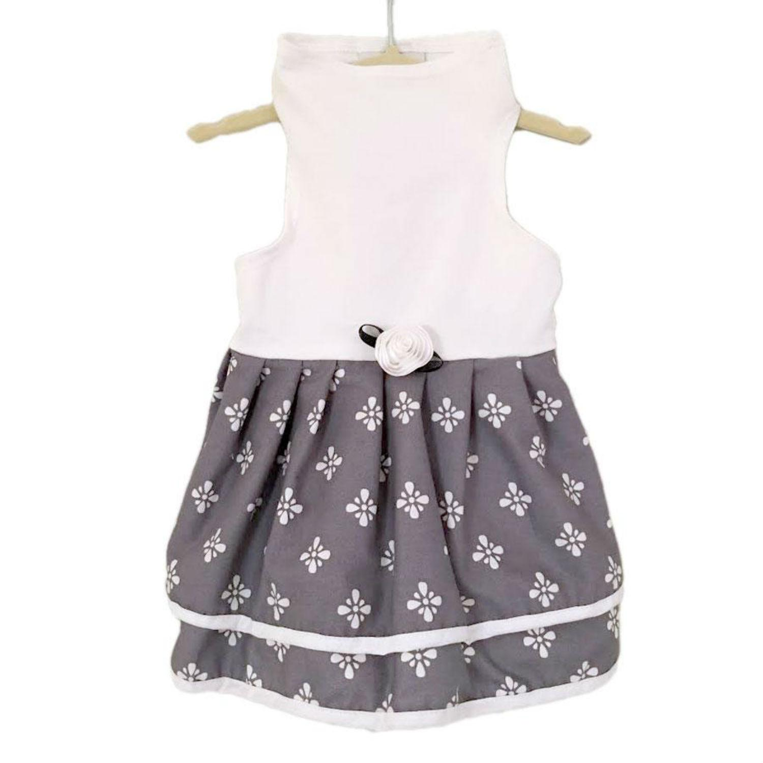 Daisy & Lucy Grey and White Print Dog Dress