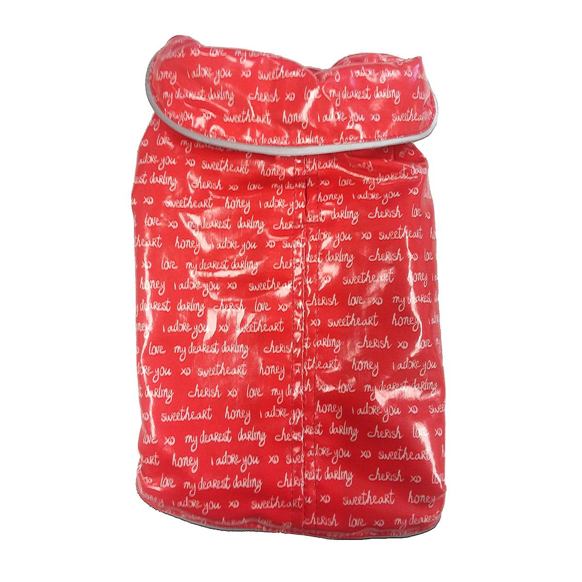 Daisy and Lucy Love Print Red Slicker Dog Raincoat
