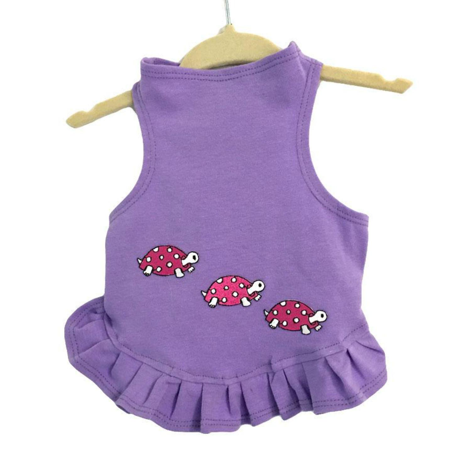 Daisy & Lucy Racing Turtles Dog Dress - Lilac