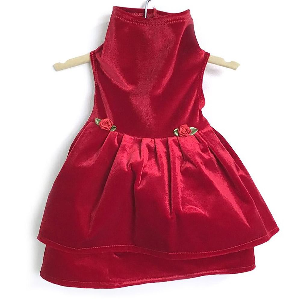 Daisy and Lucy Red Velvet Double Skirt Dog Dress - Red