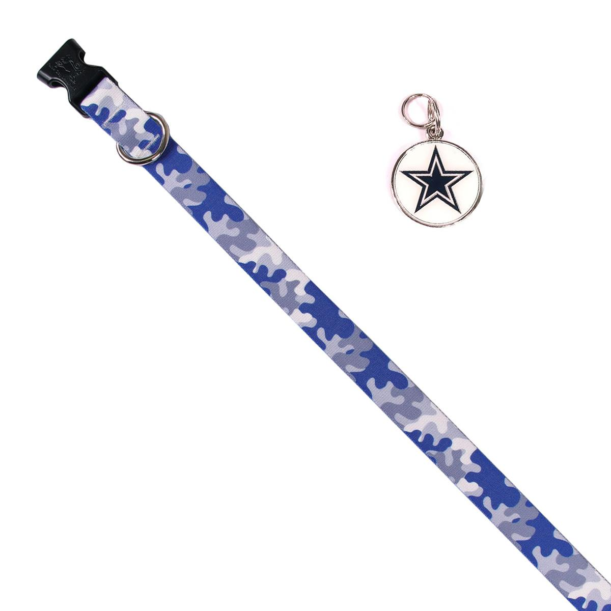 Dallas Cowboys Team Camo Dog Collar and Tag by Yellow Dog