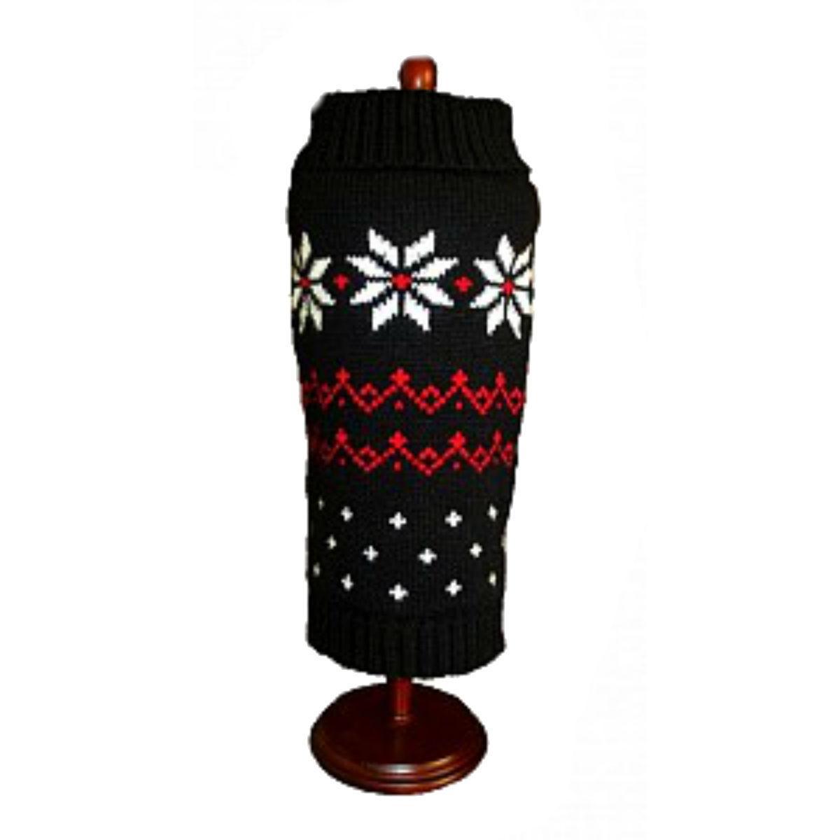 Dallas Dogs Black Fair Isle Snowflake Dog Sweater