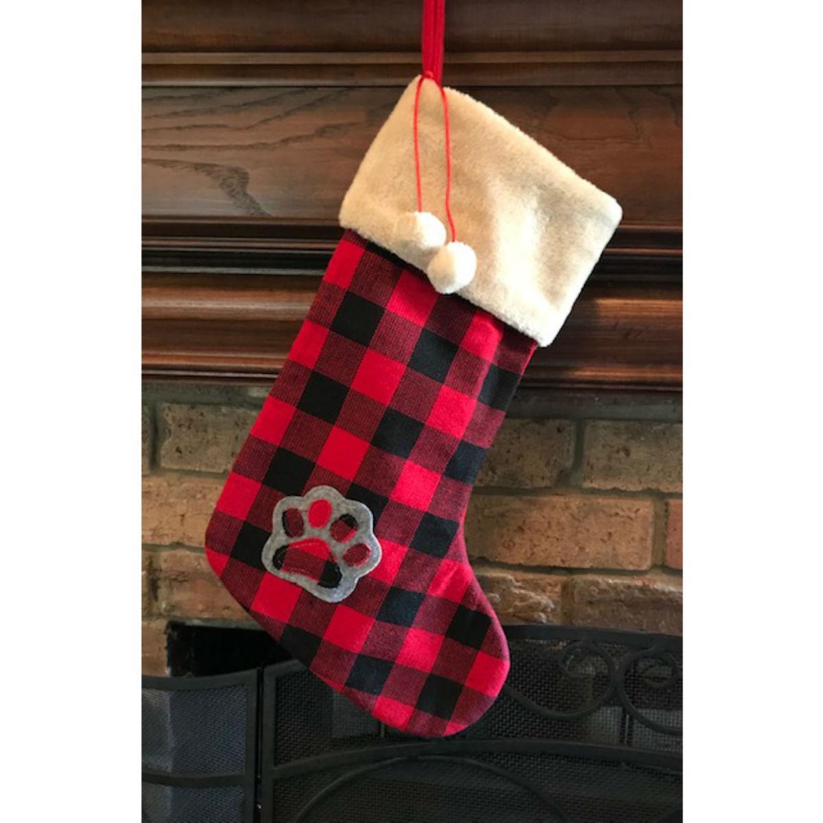 Dallas Dogs Buffalo Plaid Christmas Stocking - Paw & Pom Poms