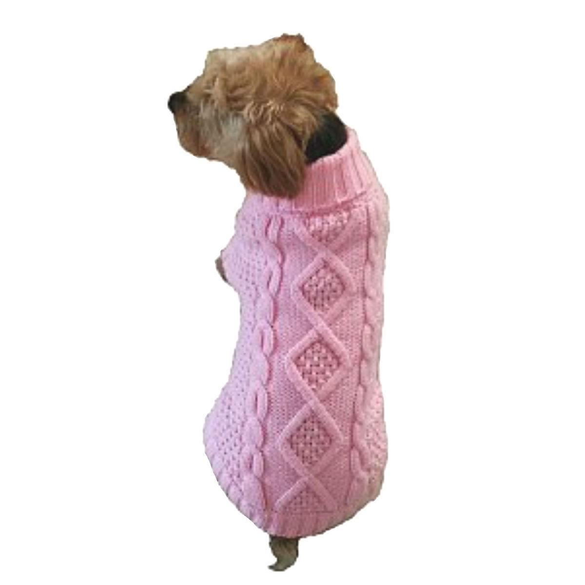Dallas Dogs Irish Knit Dog Sweater - Cotton Candy Pink