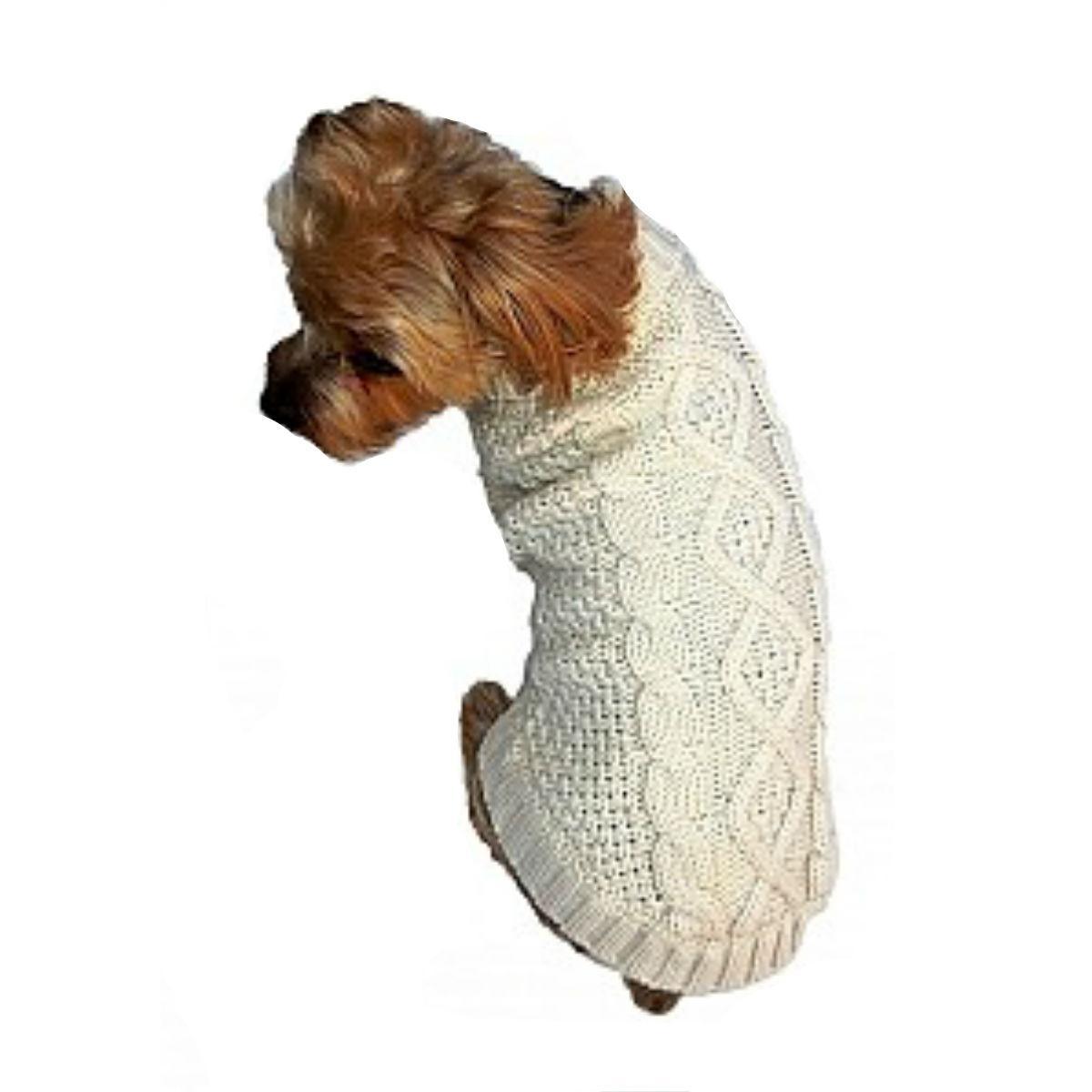 Dallas Dogs Irish Knit Dog Sweater - Cream