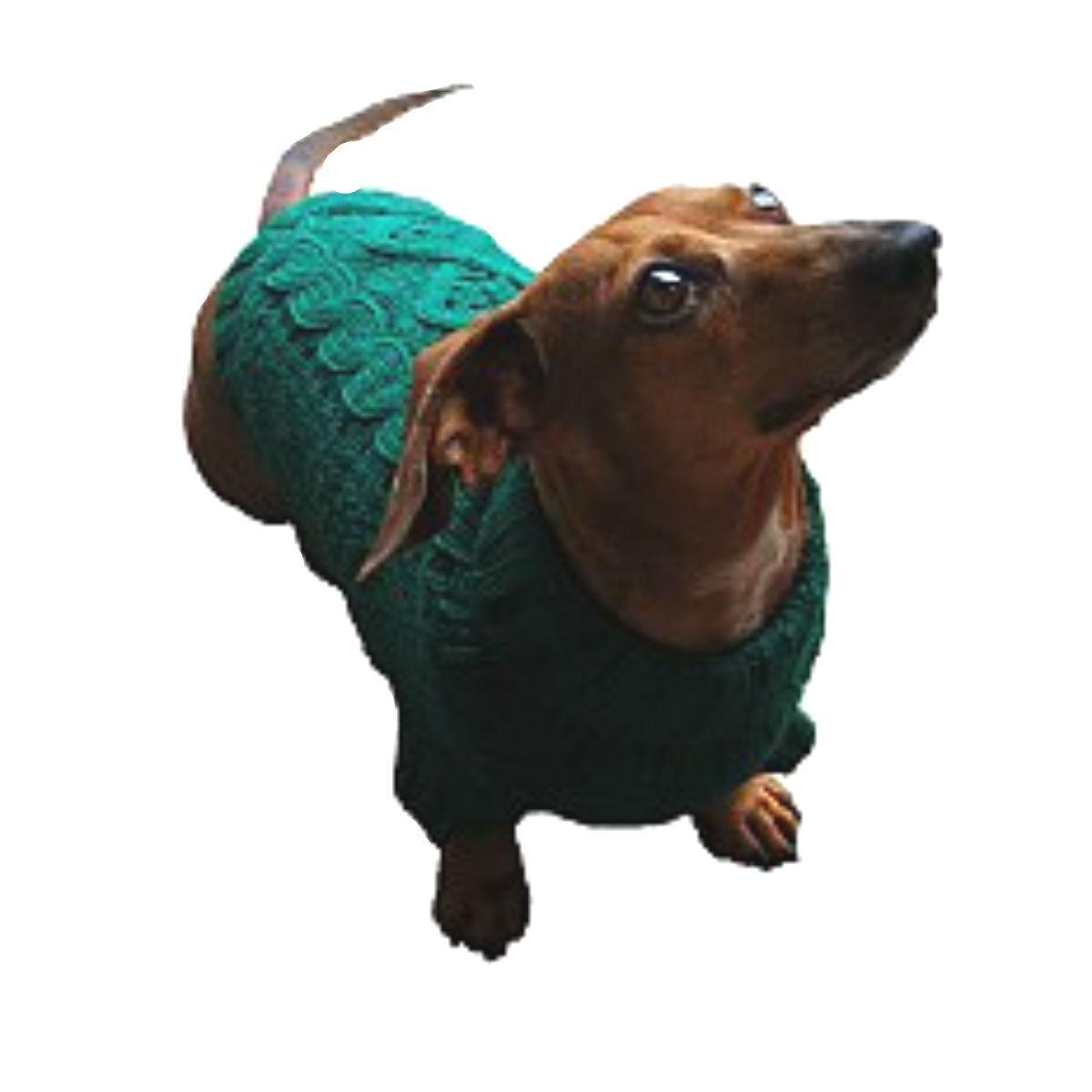 Dallas Dogs Irish Knit Dog Sweater - Hunter Green