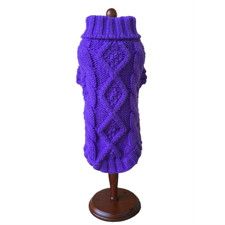Dallas Dogs Irish Knit Dog Sweater - Purple