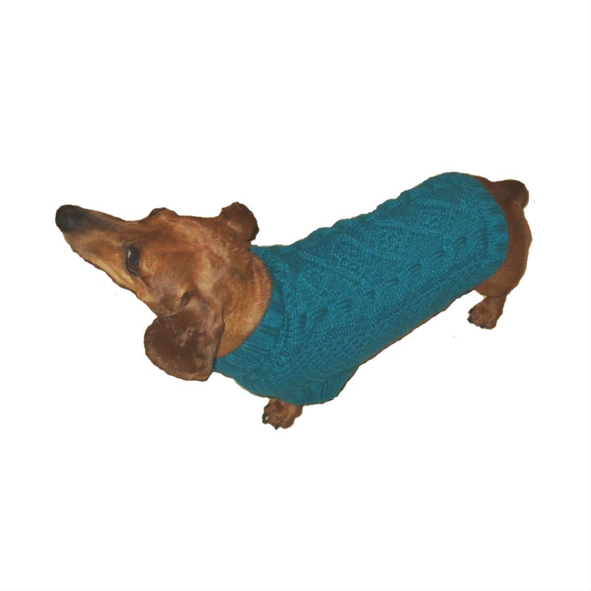 Dallas Dogs Irish Knit Dog Sweater - Turquoise