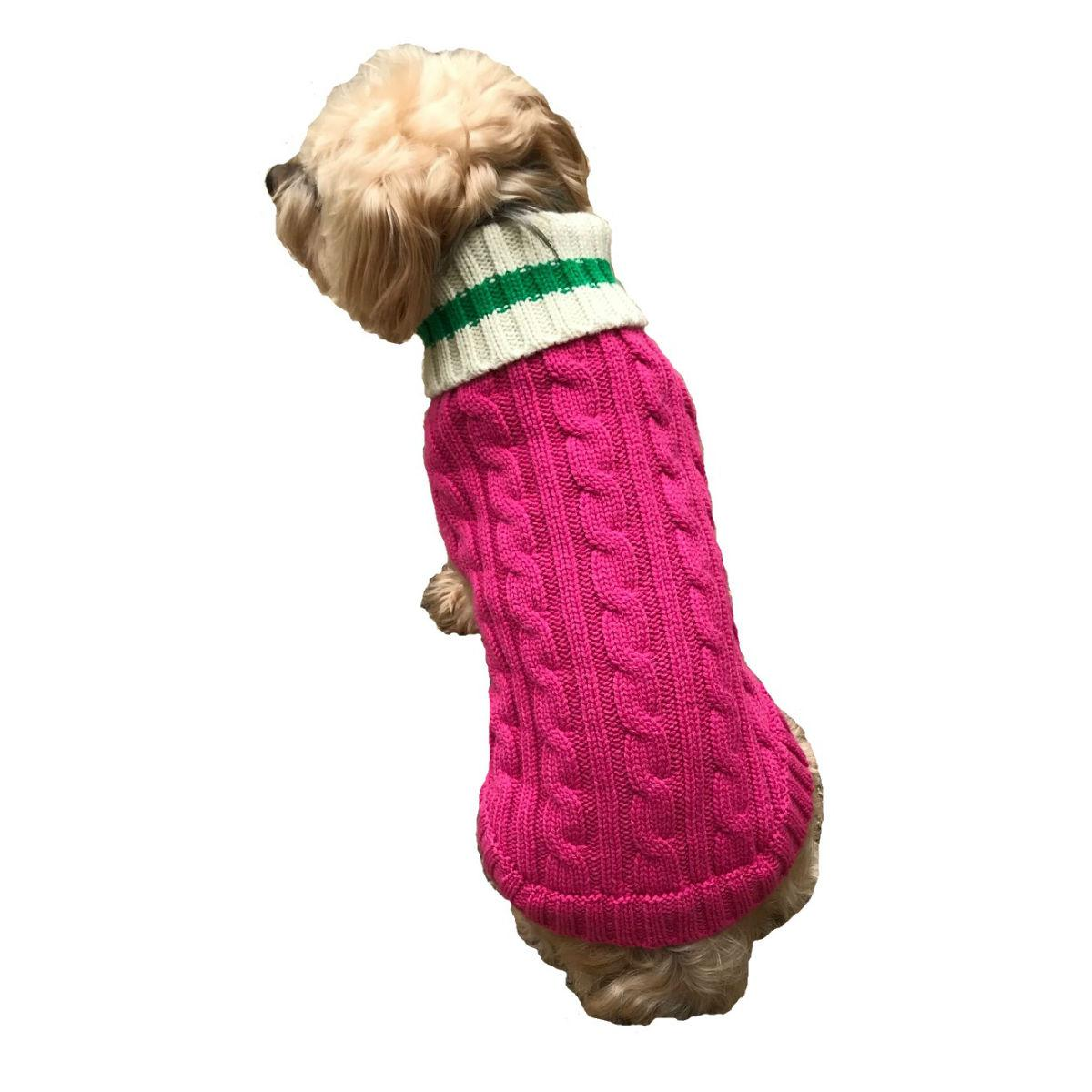 Dallas Dogs Preppy Pup Dog Sweater - Hot Pink with Green Stripe
