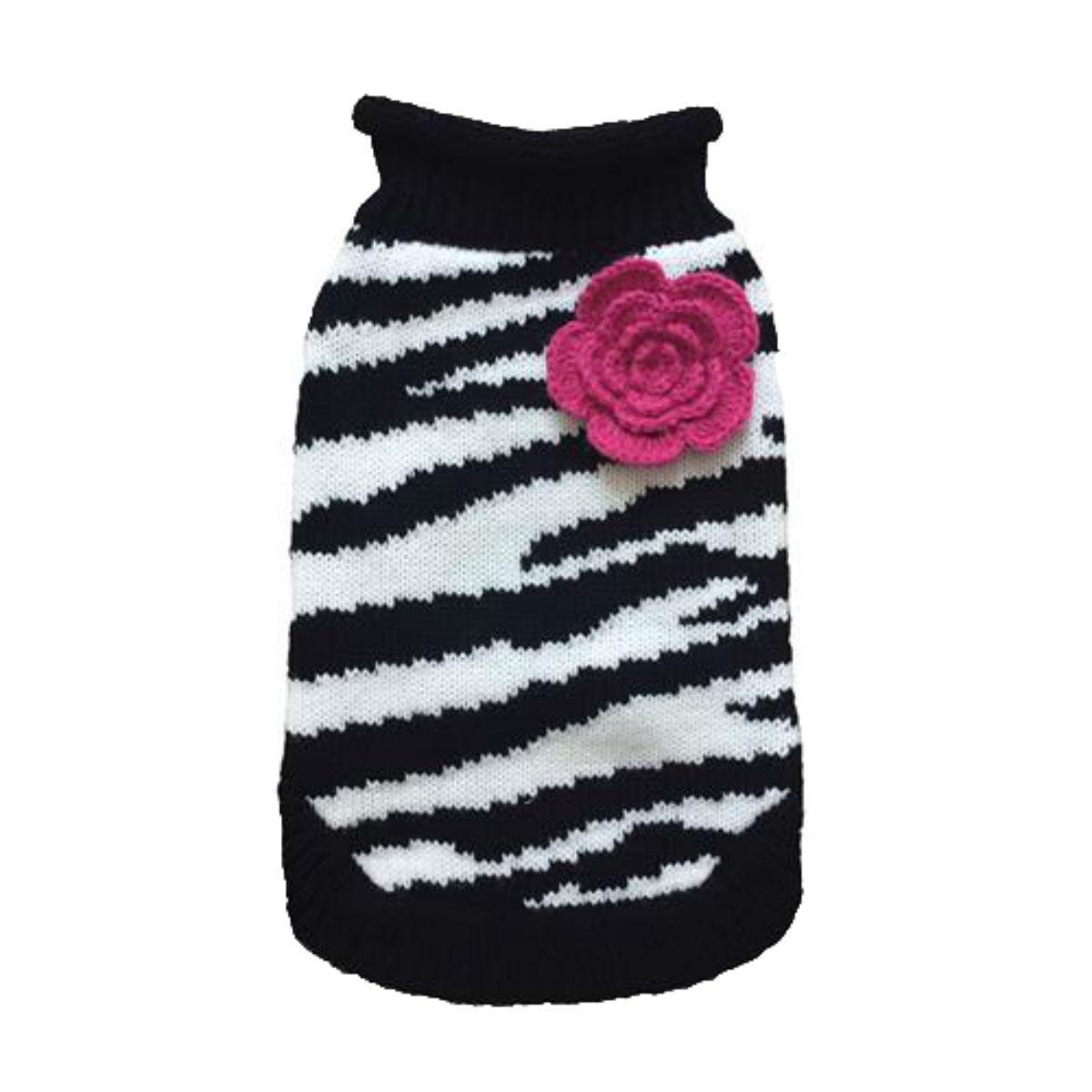 Dallas Dogs Zebra Fleur Rose Dog Sweater