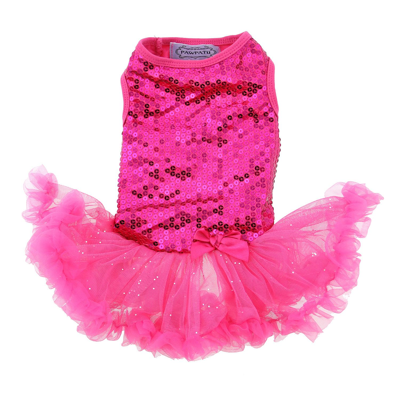 Dark Pink Sequin Pet Dress by Pawpatu