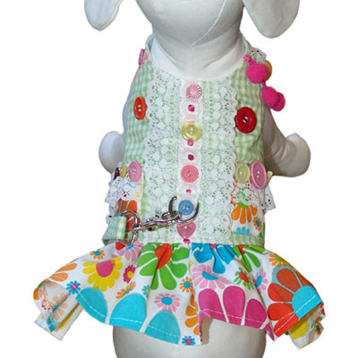 Darlin' Daisy Dog Harness Dress by Cha-Cha Couture - Green