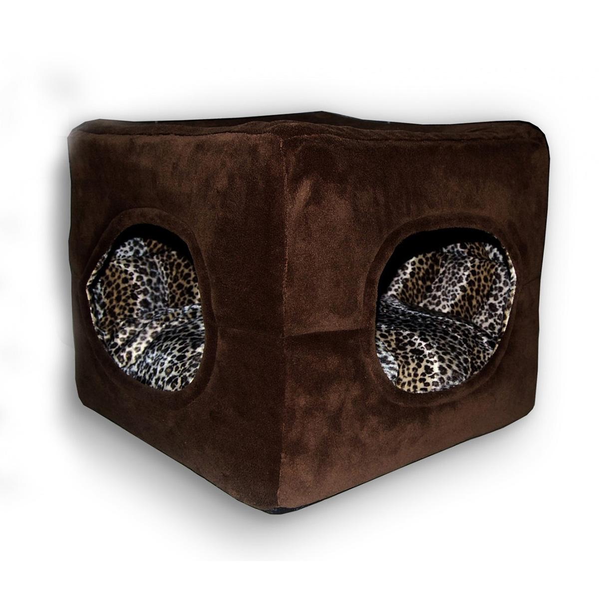 Deluxe 2 Door Pop Up Dog Tent/Bed by Hip Doggie - Chocolate Brown