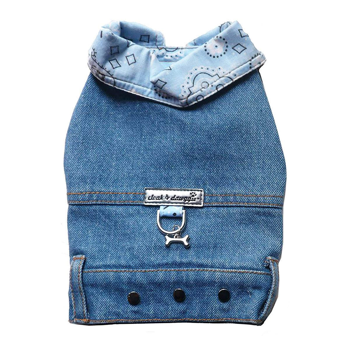 Denim Jean Jacket Dog Harness Vest with Blue Bandana Trim