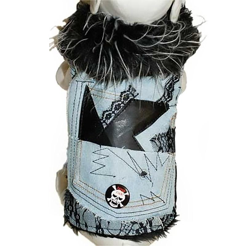 Denim and Lace Faux Fur Trimmed Dog Jacket by Cha-Cha Couture