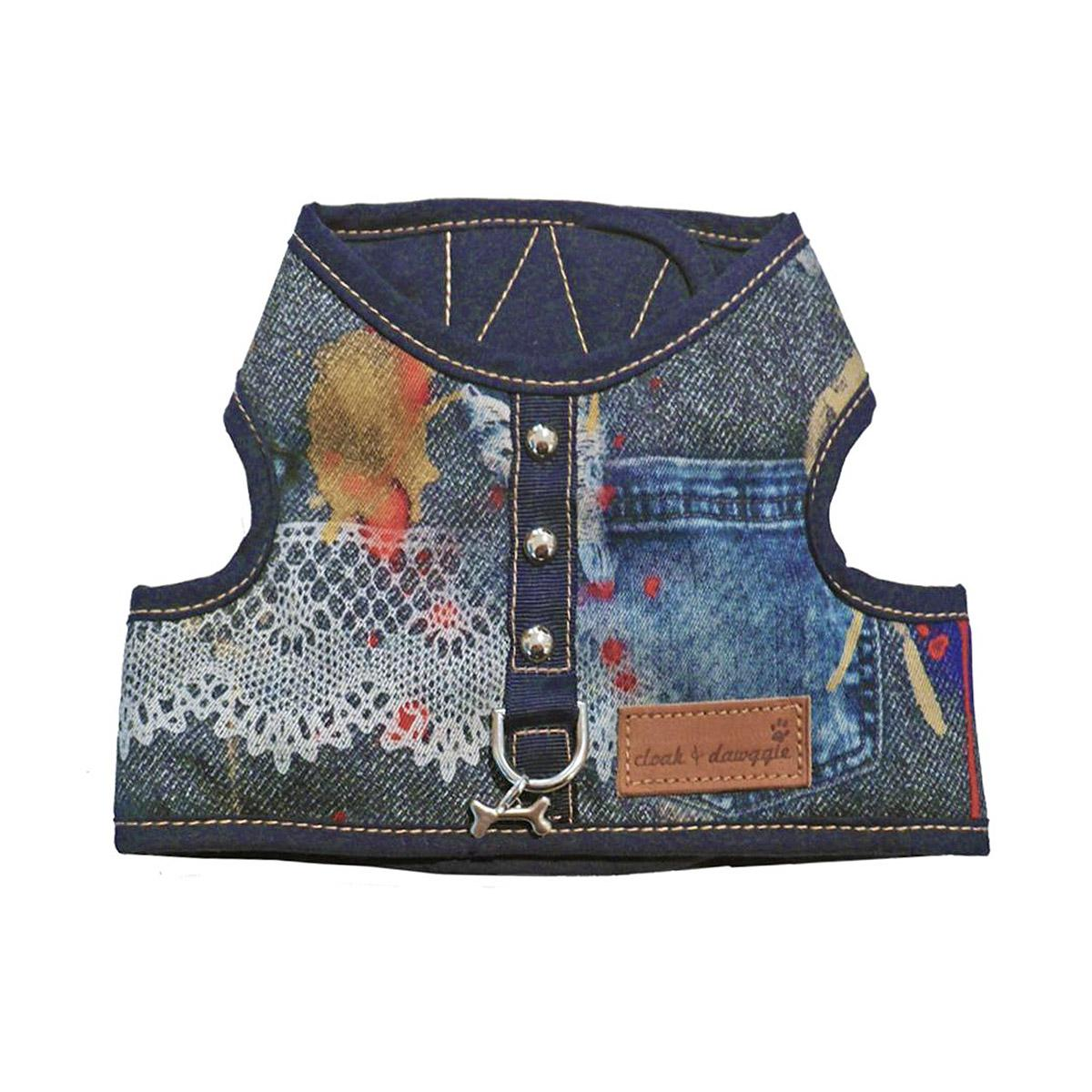 Denim Lace Dog Harness Vest by Cloak & Dawggie