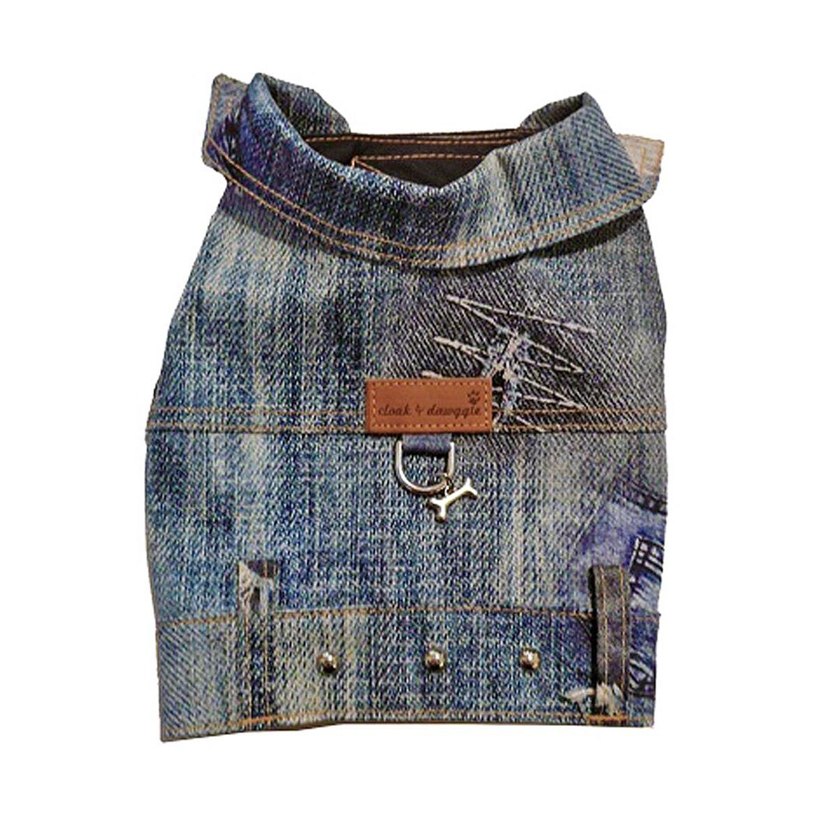Denim Patch Dog Harness Vest by Cloak & Dawggie