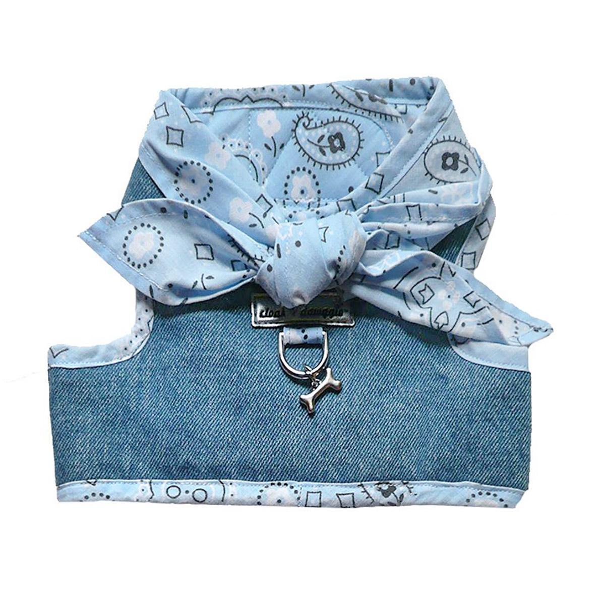 Denim Scarf Tie Dog Harness Vest - Blue Bandana