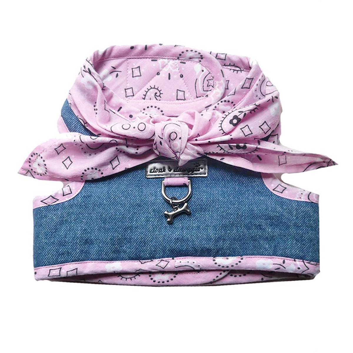 Denim Scarf Tie Dog Harness Vest - Pink Bandana