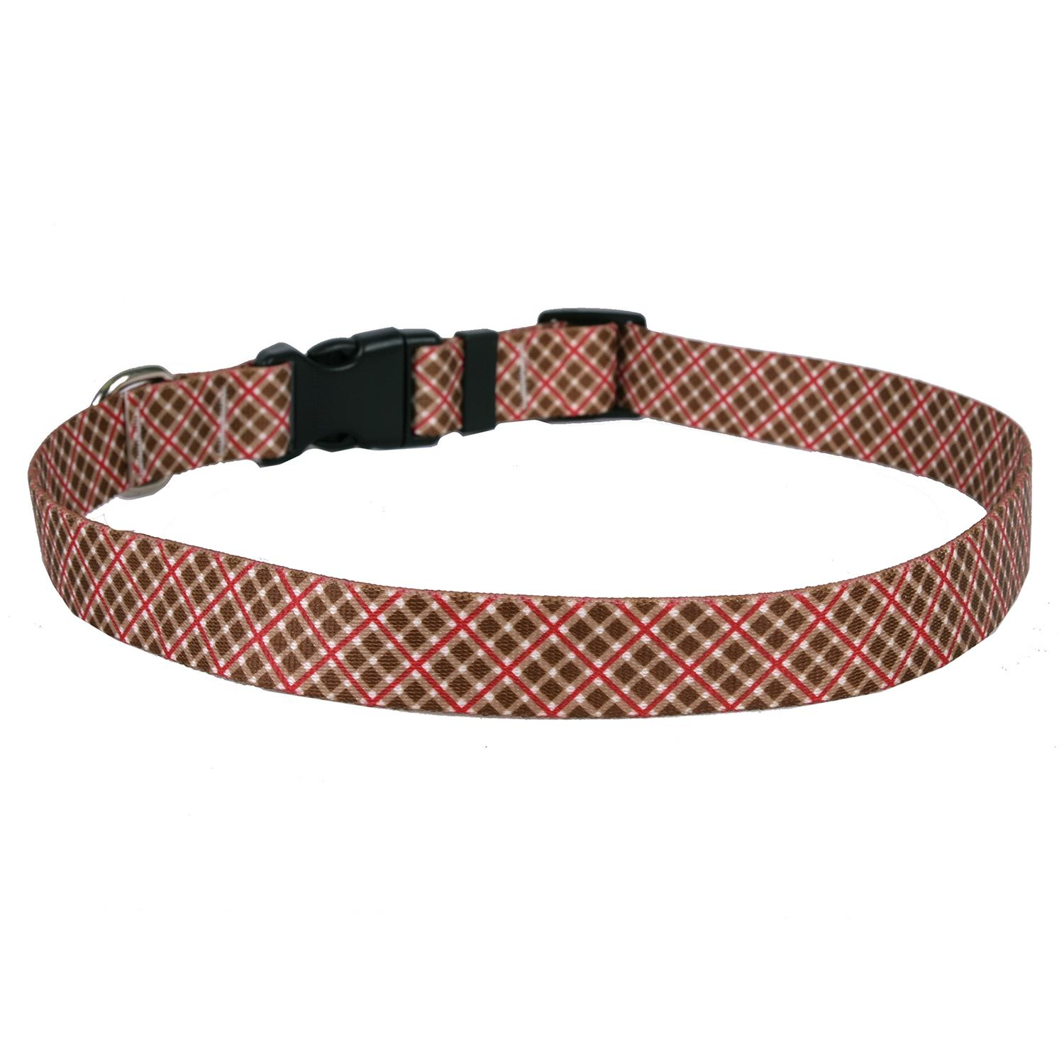 Diagonal Plaid Dog Collar by Yellow Dog - Brown and Red