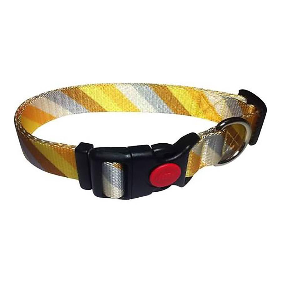 Diagonal Stripes Dog Collar by Cha-Cha Couture - Yellow