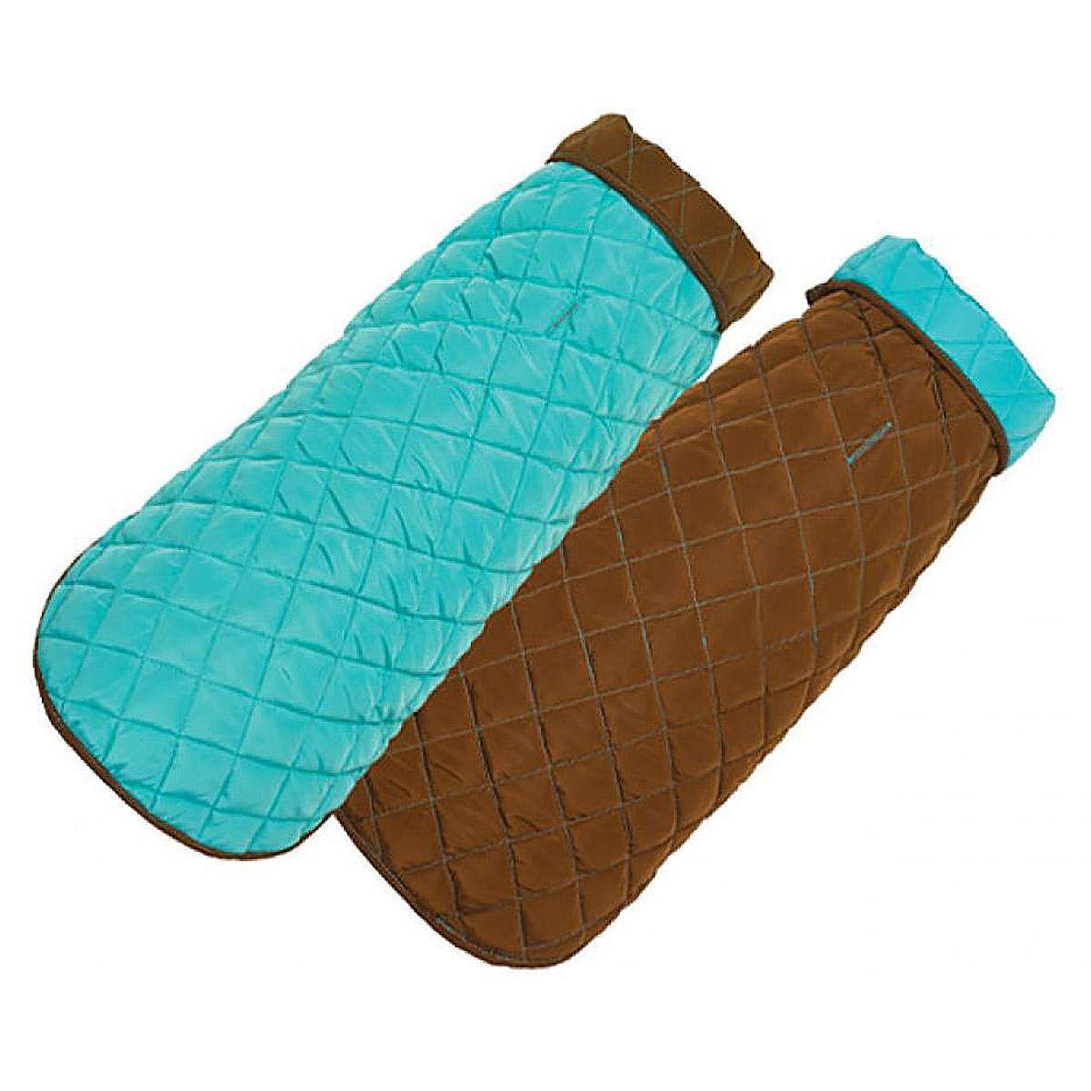 Diamond Quilted Reversible Dog Coat by Up Country - Aqua and Brown