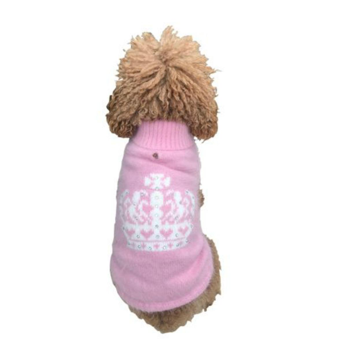 The Dog Squad Diana Luxury Rhinestone Crown Dog Sweater - Pink