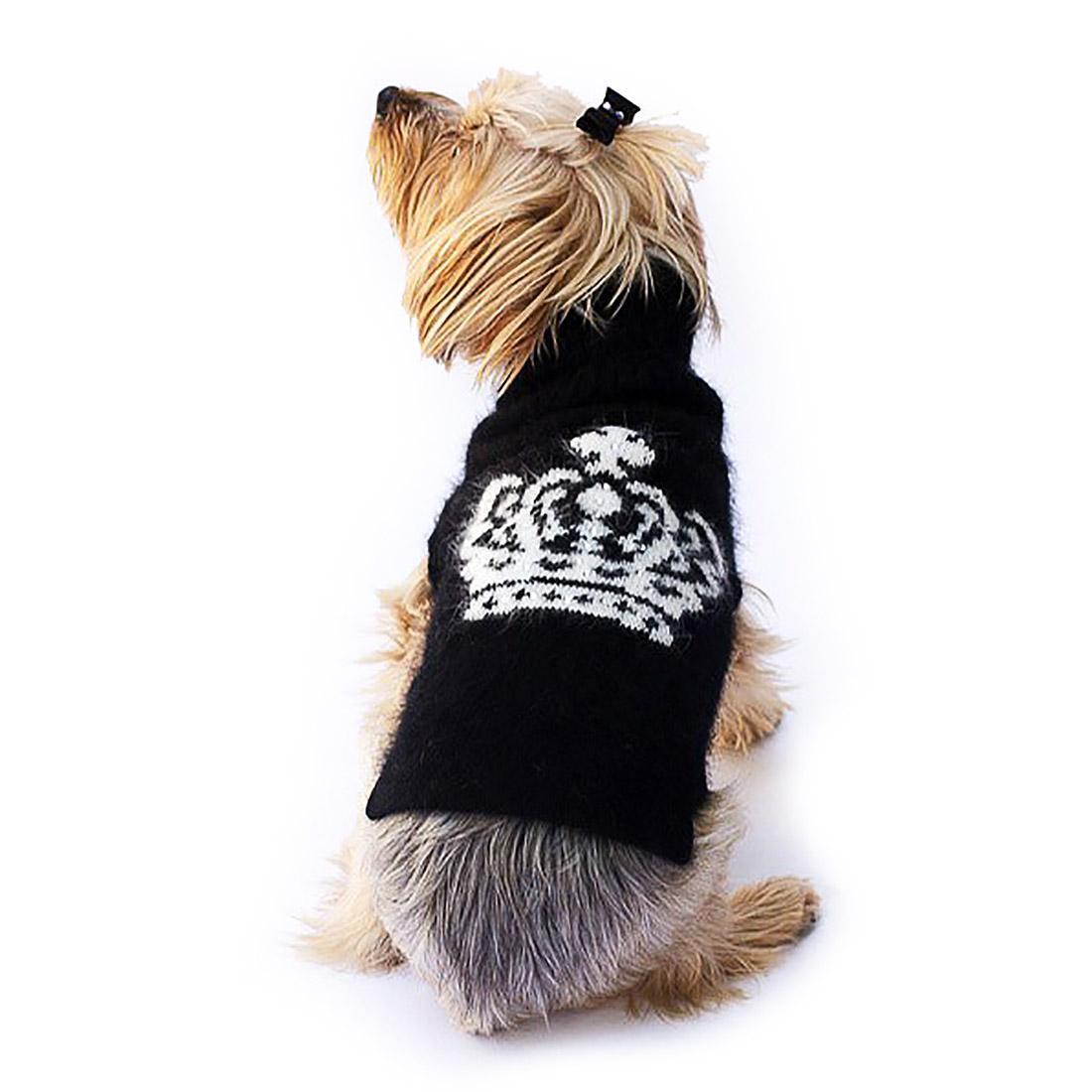 Diana Luxury Rhinestone Crown Dog Sweater - Black and White