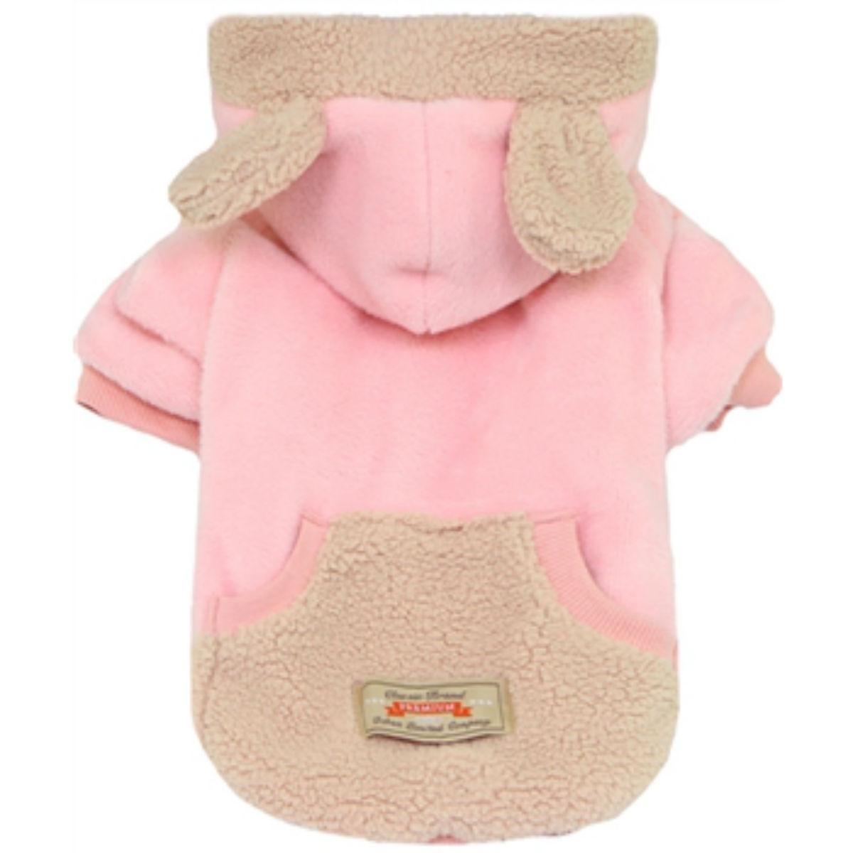 Dobaz Velour Bear Dog Hoodie - Pink