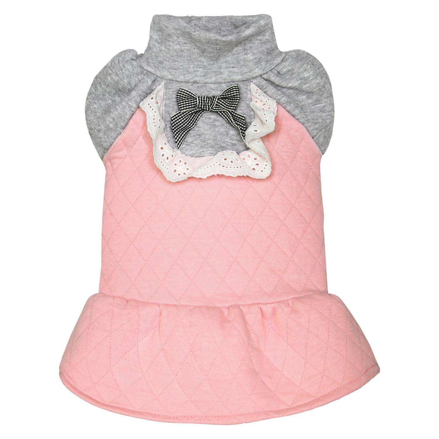Dobaz Quilted Winter Dog Dress - Pink