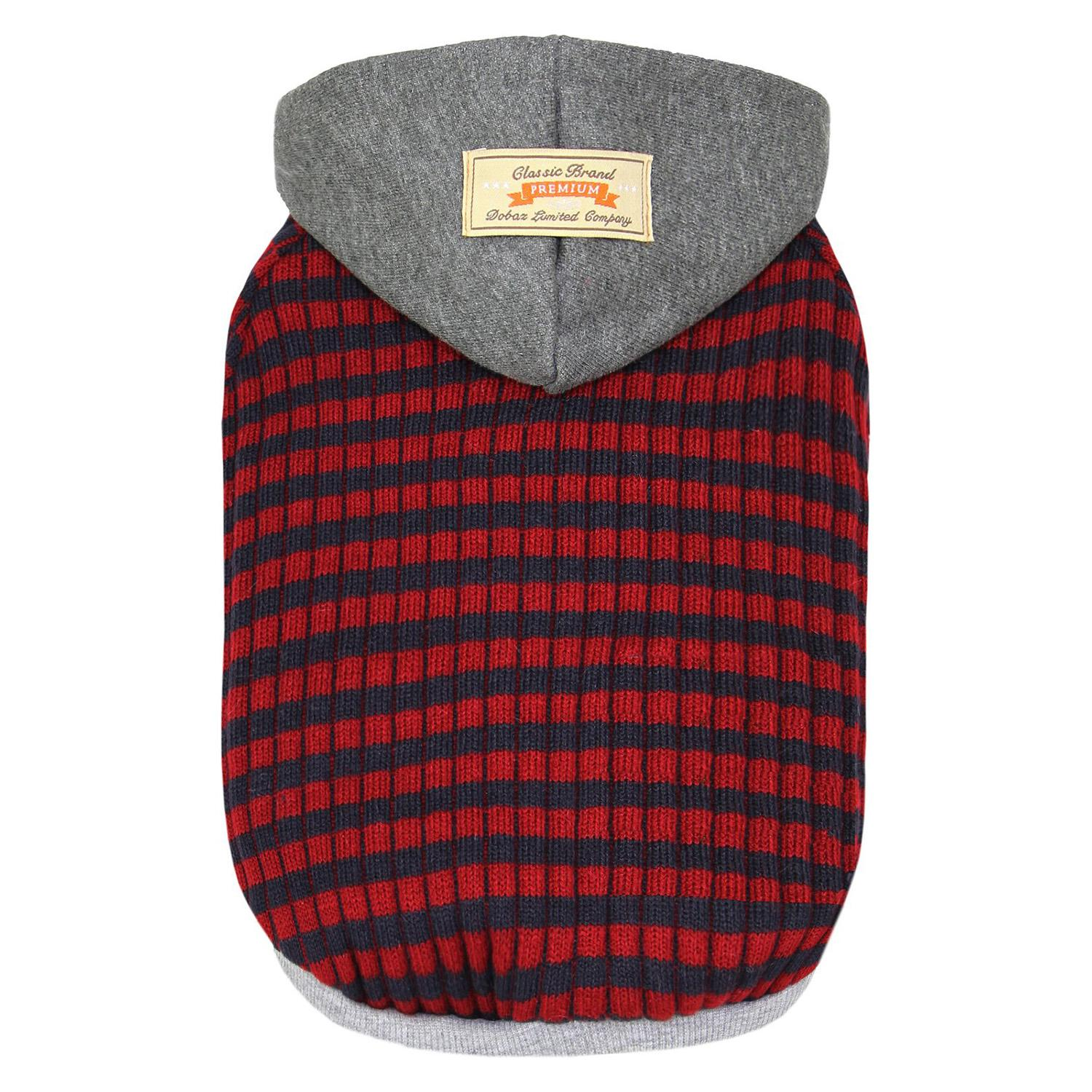 Dobaz Striped Knit Dog Hoodie - Gray & Red
