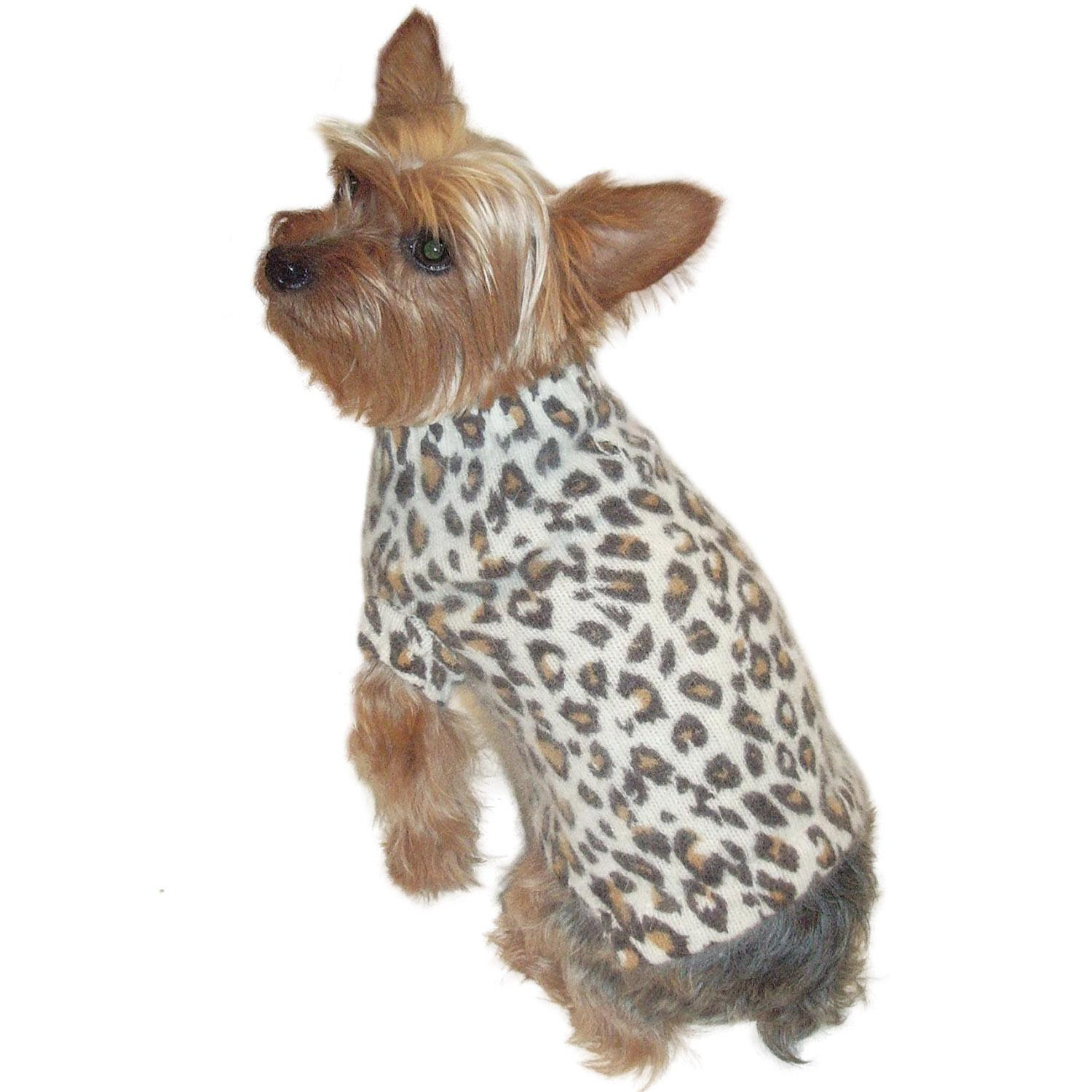 Animal Instincts Luxury Mock Turtleneck Dog Sweater by The Dog Squad - Snow Leopard