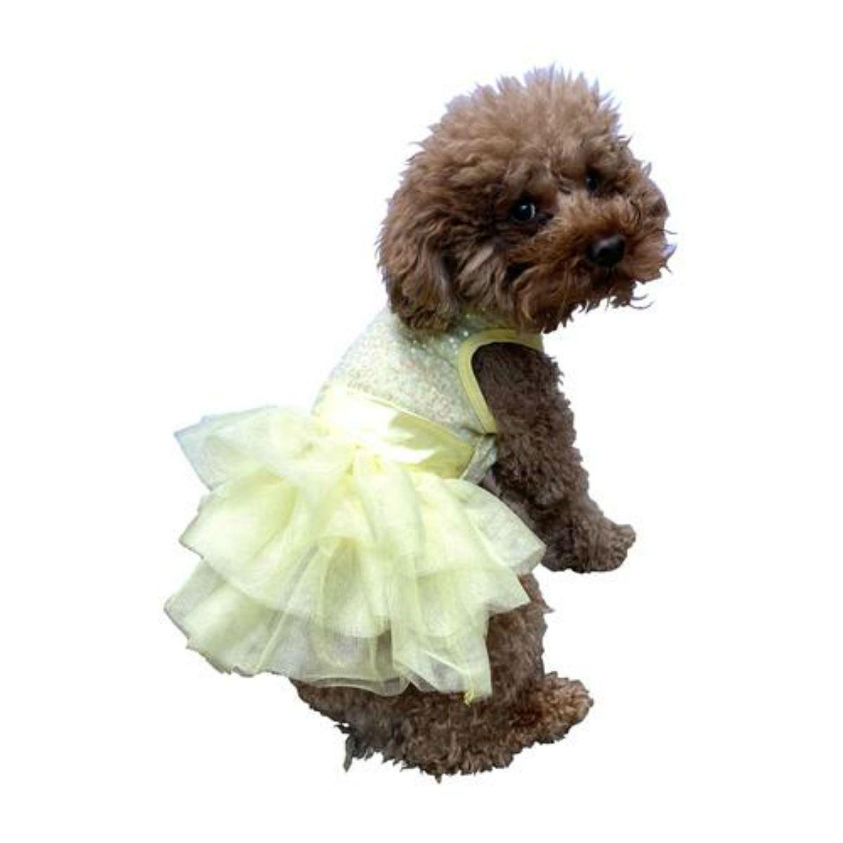 The Dog Squad's Fufu Tutu Zsa Zsa Sequin Dog Dress - Lemon