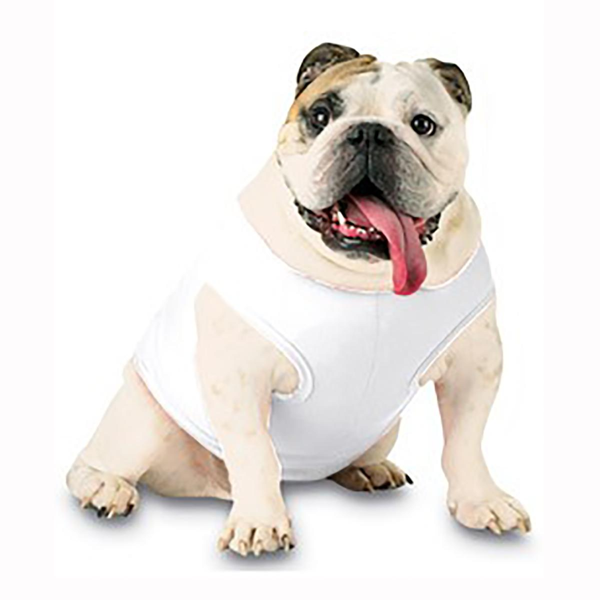 Blank Ribbed Dog Tank - White