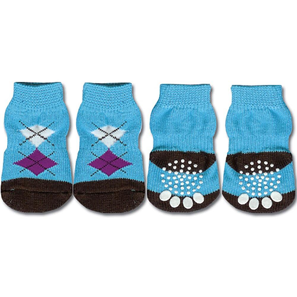 Doggy Socks - Blue & Brown Argyle