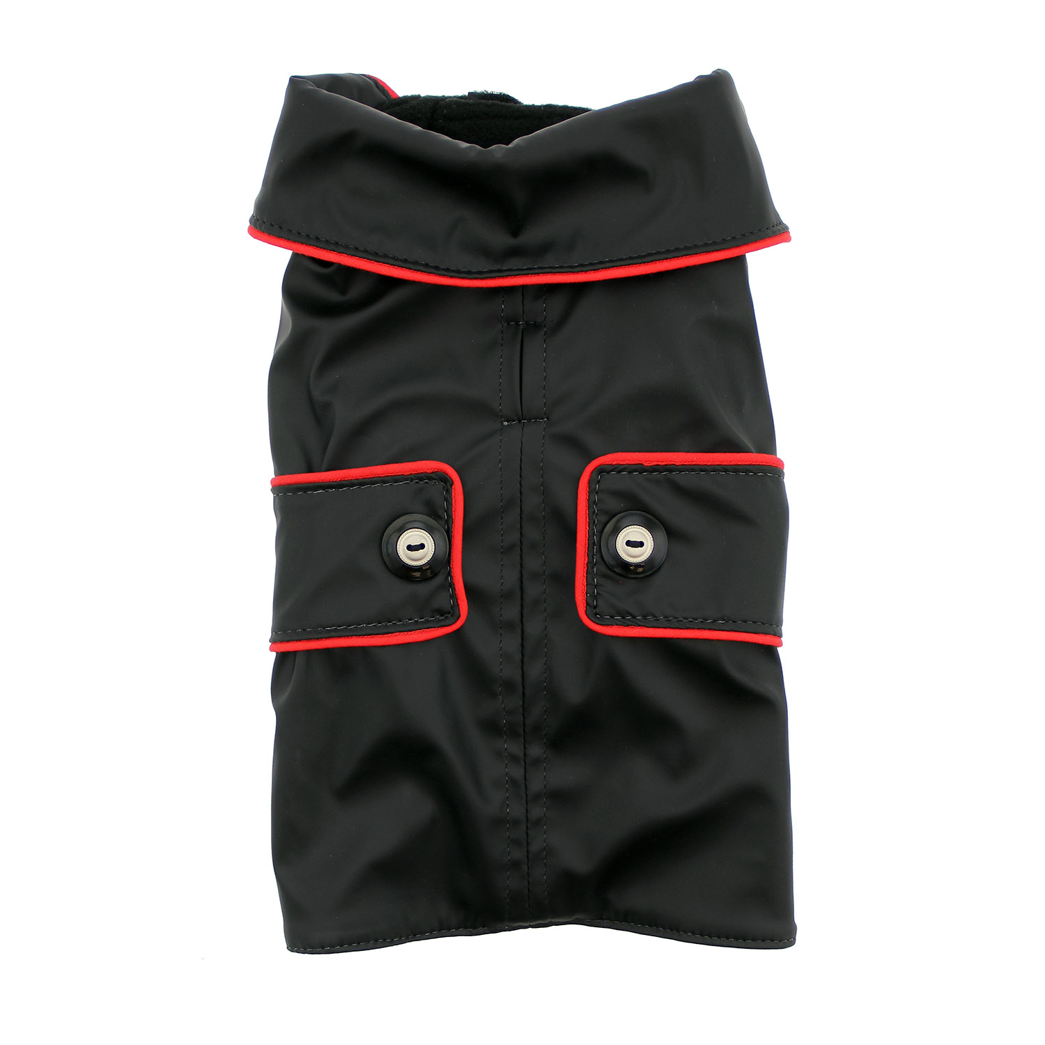 Doggy Wrappers Neo-Tech Fleece Dog Coat - Black with Red Piping